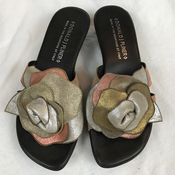 a71bd9344f5 Donald J. Pliner Shoes - Donald J. Pliner Sandal Leather Metallic Rosette
